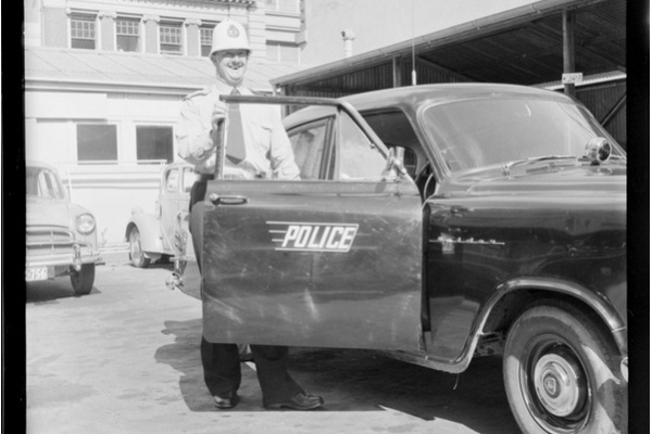 Police car. Negatives of the Evening Post newspaper. Ref: EP/1959/0997-F. Alexander Turnbull Library, Wellington, New Zealand. http://natlib.govt.nz/records/23261606